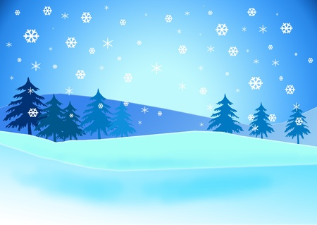 Snowy landscape illustration. Stock Illustration - 8533540