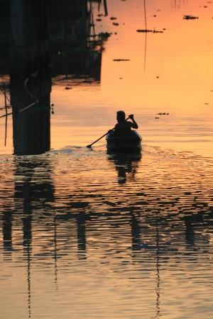 Sunset over a lake, Bangkok, Thailand. Stock Photo - 8611711