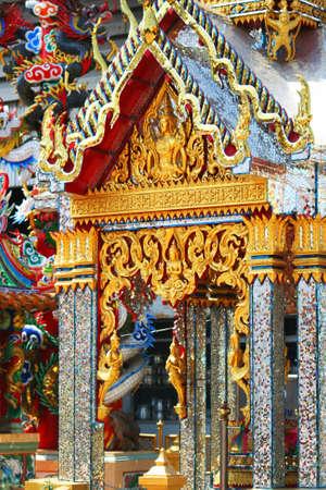 naga china: Chinese temple in Thailand. Stock Photo