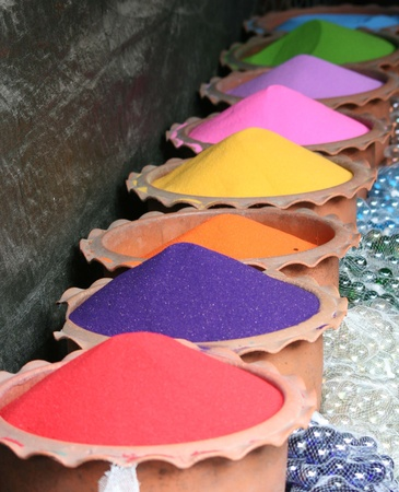 Colored powders in Thailand. photo