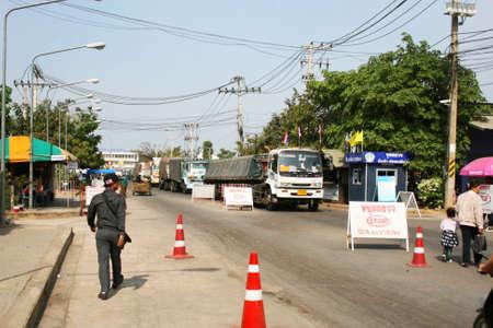 POI PET, THAILAND - 19 JANUARY: Road near the Cambodia border crossing on January 19, 2010 in Poi Pet, Thailand.