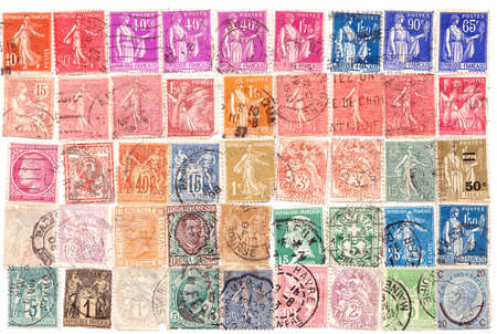 French various vintage collection of postage stamps.  photo