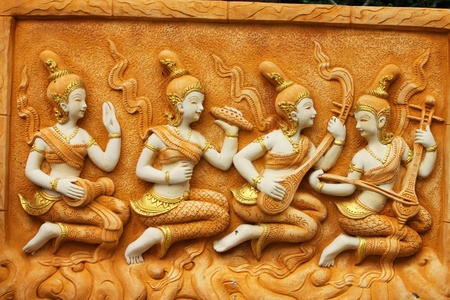 stone carvings: Buddhist architecture, Bangkok, Thailand.