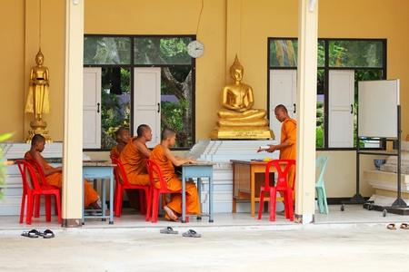 Buddhist monks learning, Bangkok, Thailand.