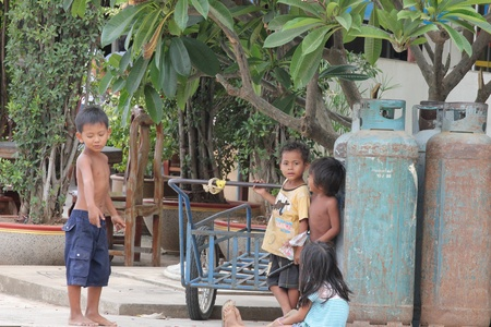 Cambodia -  July, 2011, Cambodian children on the streets of a Thailand border town.