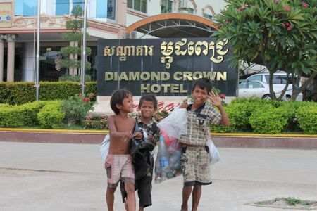 Cambodia -  July, 2011, Cambodian children on the streets of a Thailand border town. Stock Photo - 10580769