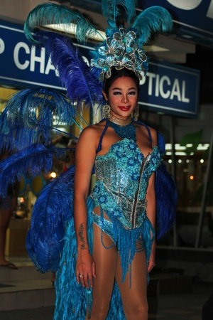 KOH SAMUI, THAILAND - SEPTEMBER 14  Transvestites stand at night in Haad Chewang nightclub area