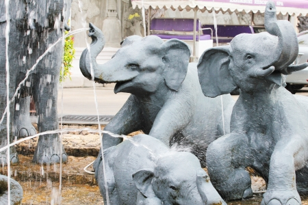 Elephant fountain in a hotel garden, Thailand  Stock Photo - 14089110