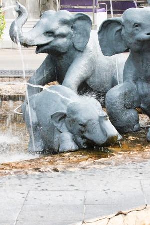 Elephant fountain in a hotel garden, Thailand  photo