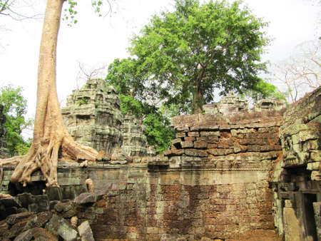 buddhist structures: Bayon temple ruins, Cambodia                                  Stock Photo