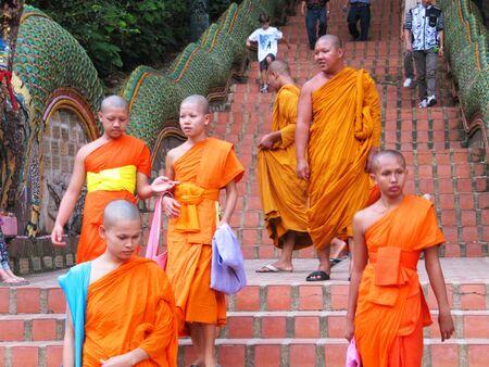 Monks at Doi Suthep temple, Chaing mai, Thailand.