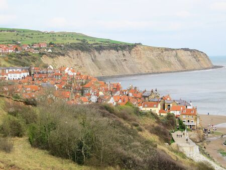 Robin hoods bay beach, north Yorkshire, England                                 photo