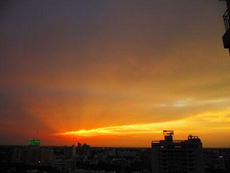 Red sunset in Bangkok, Thailand                                 photo