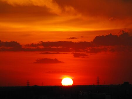 Red sunset in Bangkok, Thailand                                      photo