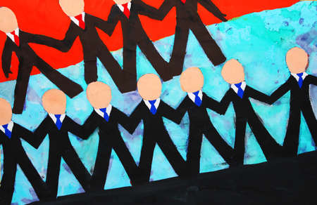 Illustration of business men holding hands  illustration