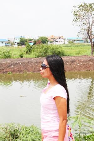 philippine adult: Filipino girl outdoors in Thailand  Stock Photo