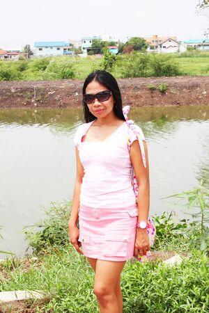 Filipino girl outdoors in Thailand  photo