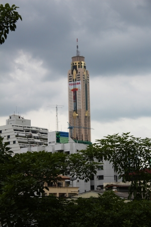 BANGKOK - JUNE 27  Byoke skyscraper uner a cloudy sky viewed from Mor Chit skytrain station in Sukumvit on June 27, 2012 in Bangkok, Thailand