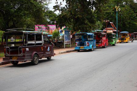 tuk: Tuk tuk taxis, Ayutthaya, Thailand  Editorial