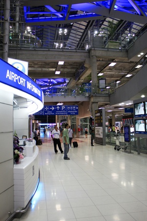BANGKOK - AUGUST 28  Suvarnabhumi ariport in the evening with passengers arriving and departing on August 28, 2012 in Bangkok, Thailand  Stock Photo - 15245791