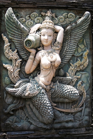 asian angel: Stone angel fountain, Thailand