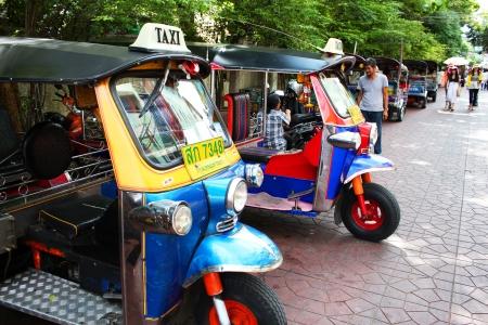 tuktuk: Tuk tuk taxis, Khaosarn road, Bangkok, Thailand  Editorial