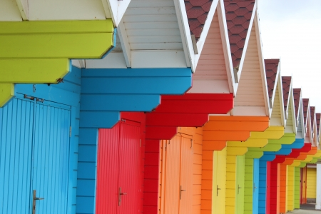 linear perspective: Beach Huts Scarborough, Yorkshire, Inglaterra