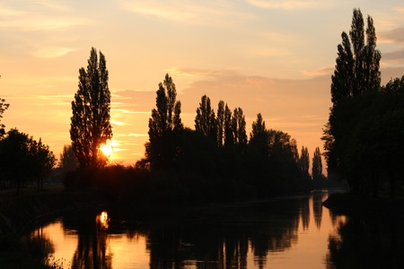irridescent: Sunset on River Ouse, Yorkshire, England
