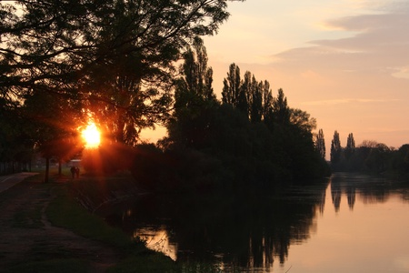 ouse: Sunset on River Ouse, Yorkshire, England