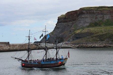 rigger: Square Rigged Sailing Ship in Harbour, England