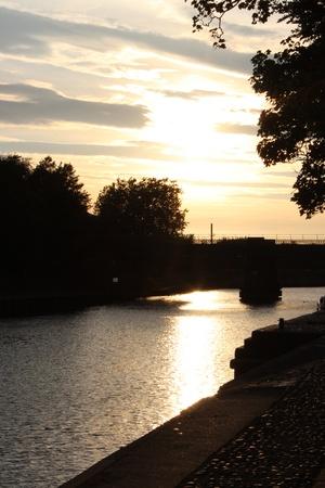 Silver Sunset, Yorkshire, England  Stock Photo