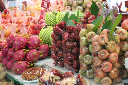 Rose Apples and Dragonfruit Display, Thailand Stock Photo - 23678153