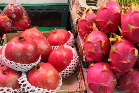 Pink Pomegranates and Dragon Fruit, Thailand  Stock Photo - 23678158
