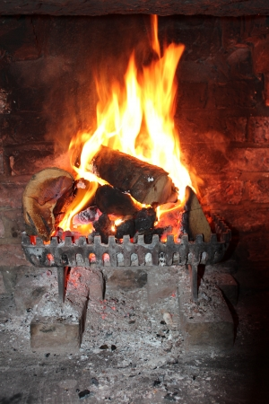 fire surround: Log Fire In Winter, Yorkshire, England