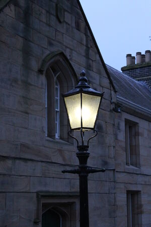 Old Victorian Gas Streetlight, Winter, England  photo