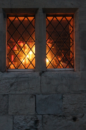 Medieval Window Radiating Light, Winter, England Stock Photo - 24487857