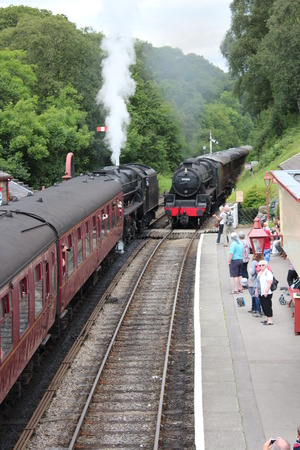 Trains at Rural Railway Station, England