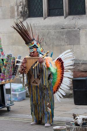busker: Aztec Maya Busker, England. Editorial
