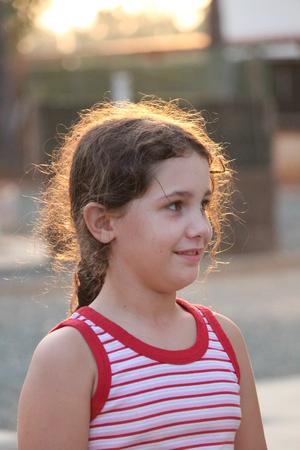 anglo saxon: Young Girl Posing For Camera, England.