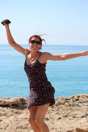 anglo saxon: Female Tourist  on Clifftop, Cyprus.