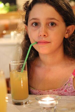 anglo saxon: Girl at Restaurant, Cyprus. Stock Photo