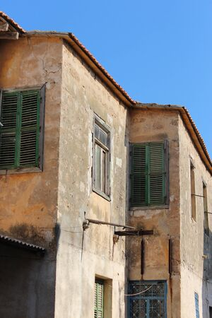 louvered: Old Shutters on Mediterranean Property, Cyprus. Stock Photo