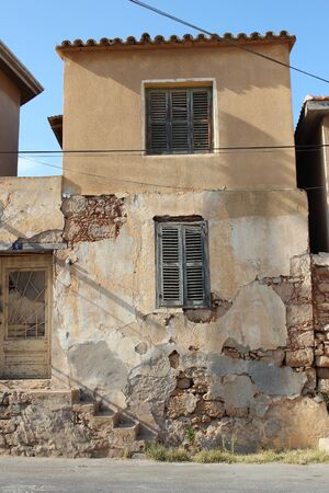 louvered: Old Shutters on Derelict Building, Cyprus. Editorial