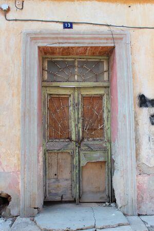 louvered: Old Door on Derelict Building, Cyprus.