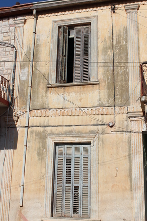 louvered: Old Shutters on Derelict Building, Cyprus. Stock Photo