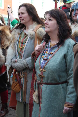 intimidating: Historical Procession of Viking Warriors through York, England.