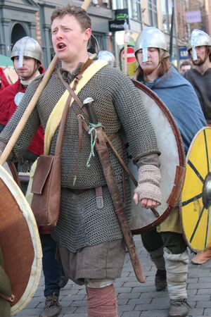 armaments: Historical Procession of Viking Warriors through York, England.