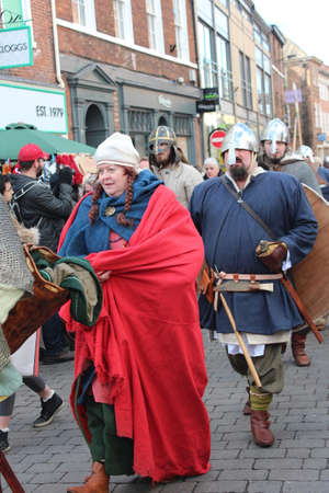 procession: Historical Procession of Viking Warriors through York, England.