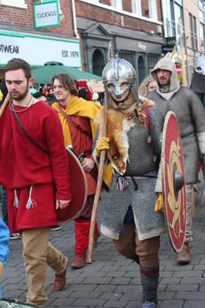 re enactment: Historical Procession of Viking Warriors through York, England.
