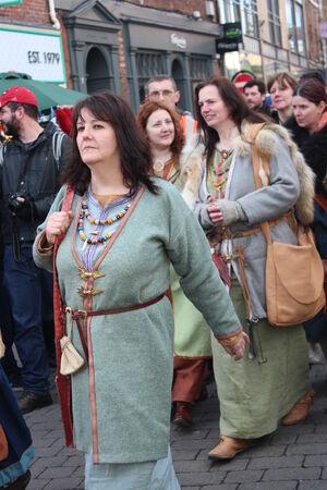armaments: Historical Procession of Viking Warriors through York, England.
